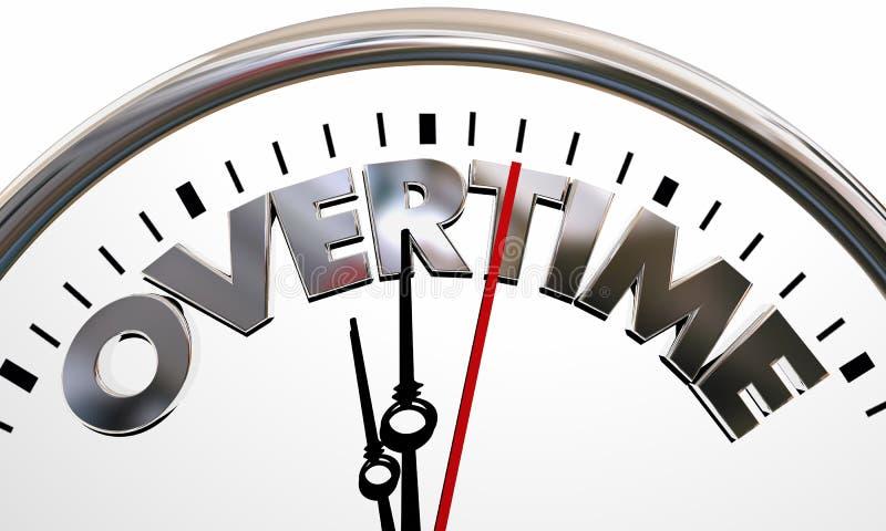 Mots fonctionnants des heures supplémentaires d'horloge d'heures supplémentaires par frais supplémentaires illustration libre de droits