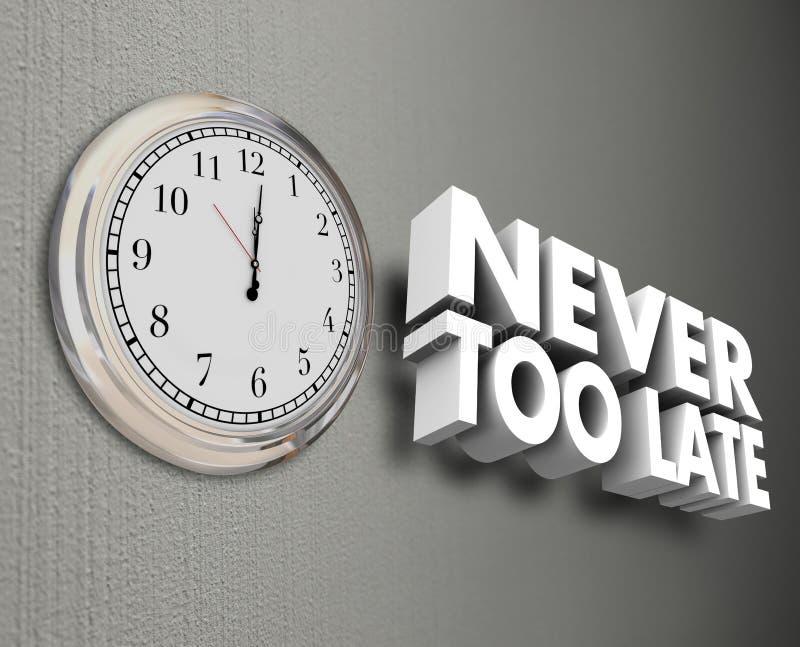 Mots jamais trop défunts du mur 3d de temps d'horloge illustration stock