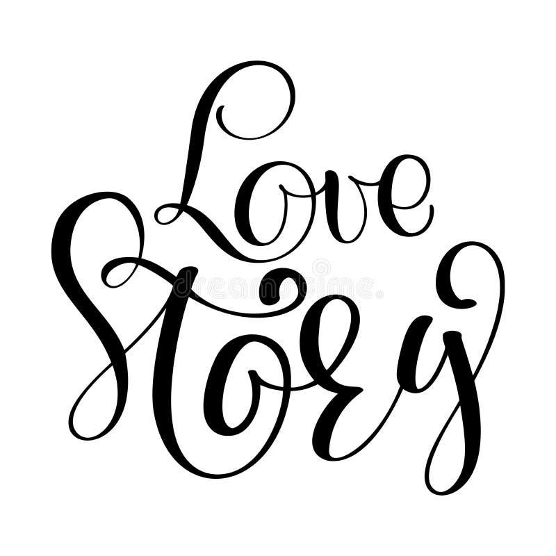 Mots Love Story Citation inspirée de mariage de vecteur Remettez le lettrage, élément typographique pour votre conception Peut êt illustration libre de droits