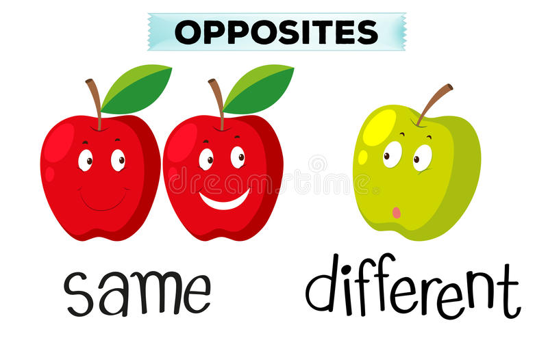 Mots pour mêmes et différent opposés illustration libre de droits