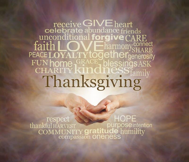 Mots que nous associons au thanksgiving images libres de droits