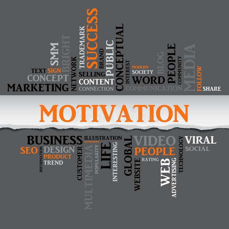 Mots relatifs de concept de motivation en nuage de tags Vecteur illustration de vecteur