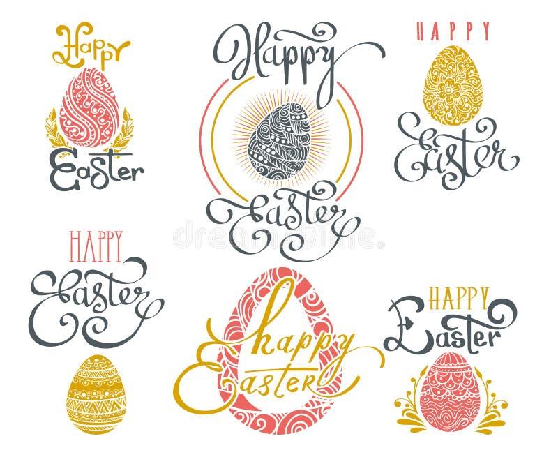 Mots tirés par la main de Pâques illustration libre de droits