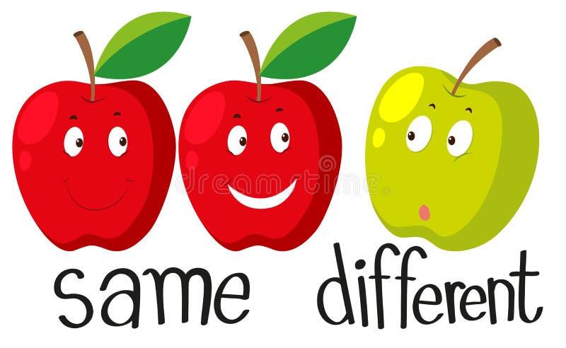 Motsatt adjektiv med samma och olikt stock illustrationer