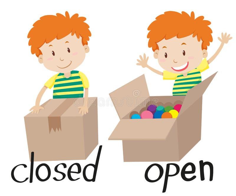 Motsatt adjektiv som stängs och öppnas stock illustrationer