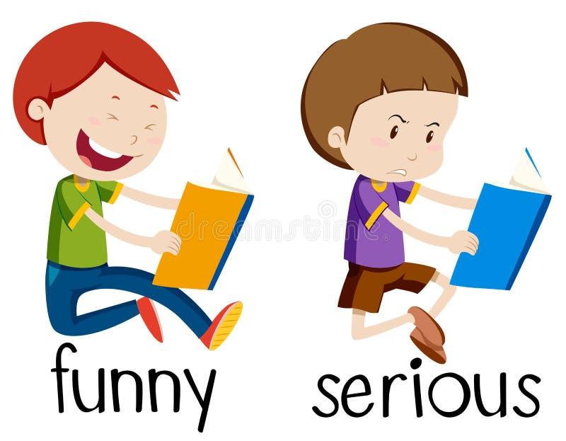 Motsatt wordcard för roligt och allvarligt royaltyfri illustrationer