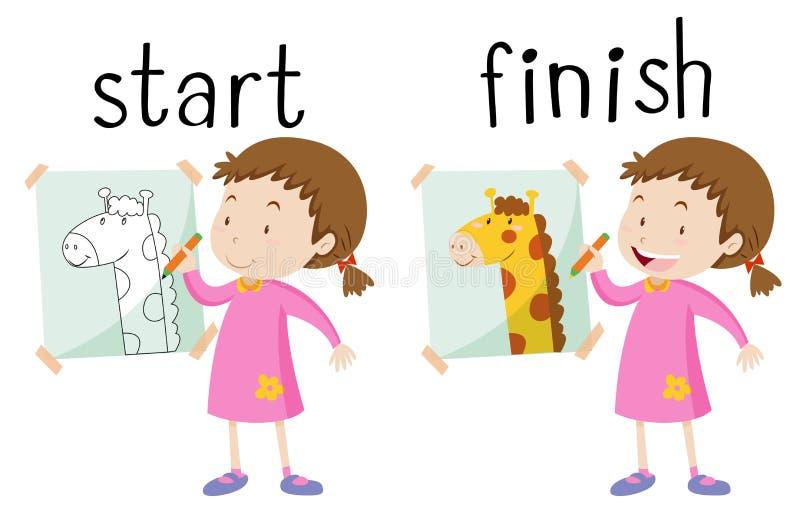 Motsatt wordcard för start och fullföljande royaltyfri illustrationer