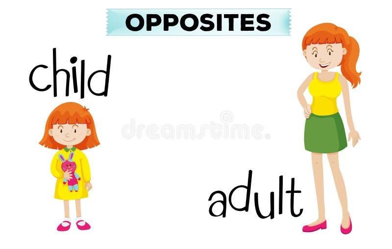 Motsatt wordcard med barnet och vuxna människan stock illustrationer
