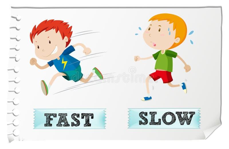 Motsatta adjektiv med snabbt och långsamt stock illustrationer