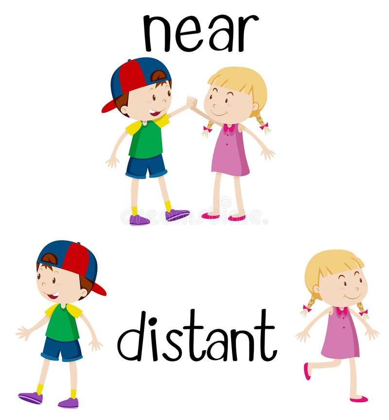 Motsatta ord för near och avlägset vektor illustrationer