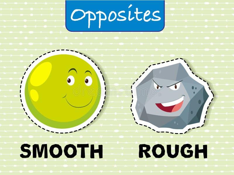 Motsatta ord för slätt och grovt vektor illustrationer