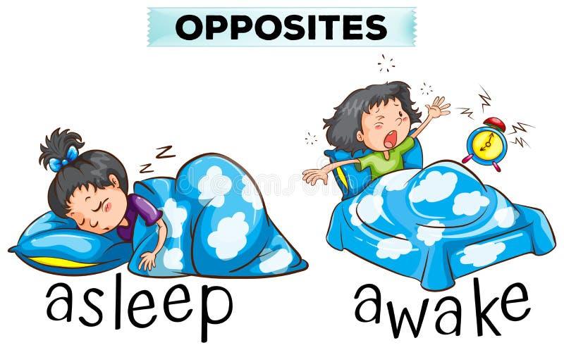 Motsatta ord för sovande och vaknar royaltyfri illustrationer