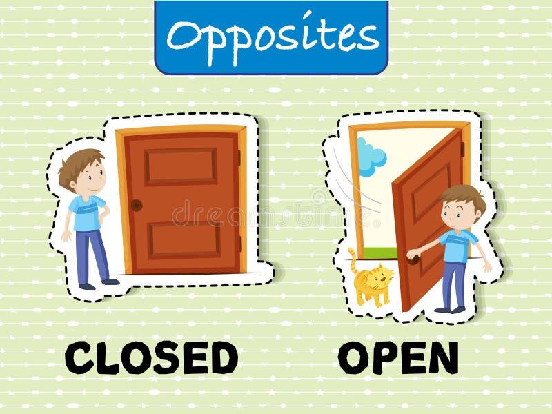 Motsatta ord för stängt och öppet stock illustrationer