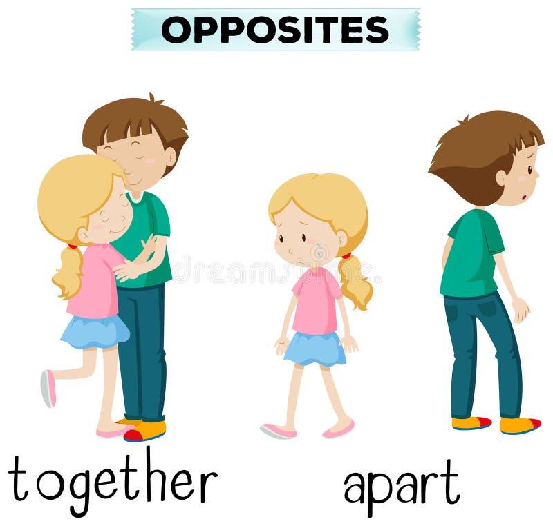 Motsatta ord för tillsammans och ifrån varandra royaltyfri illustrationer