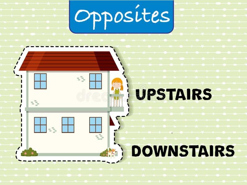 Motsatta ord för uppför trappan och bottenvåning stock illustrationer