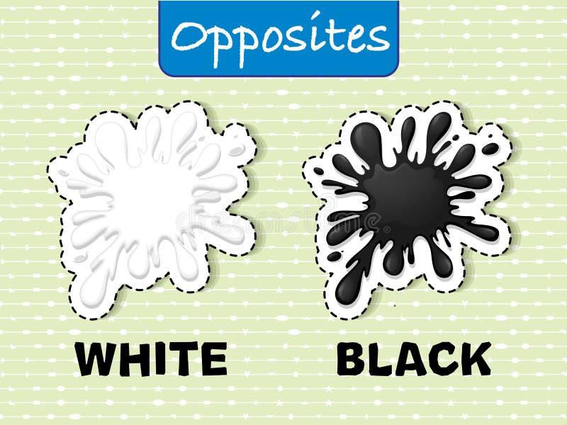 Motsatta ord för vit och svart stock illustrationer