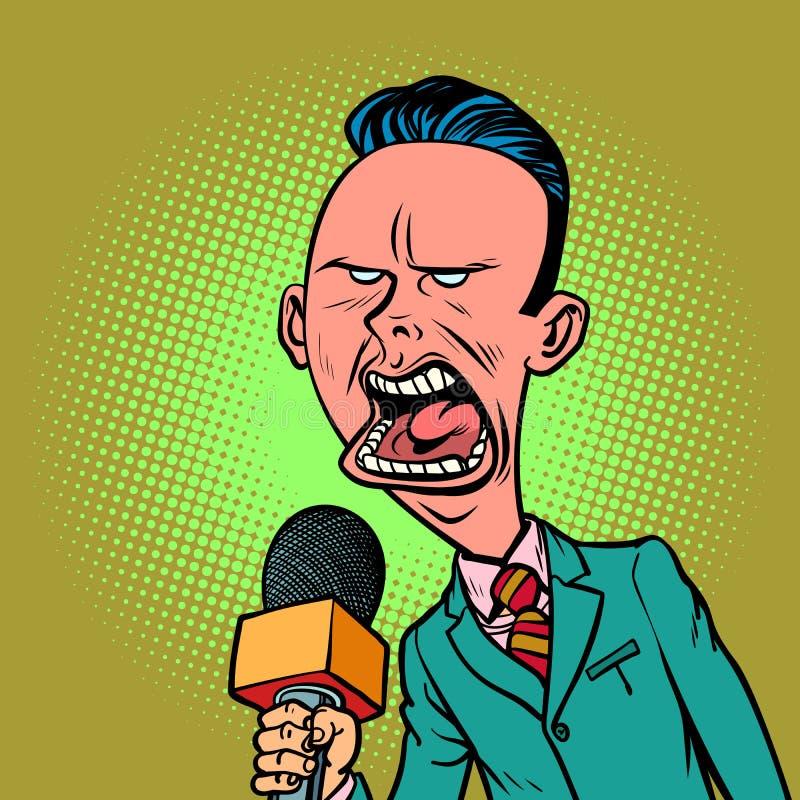 Motsvarande journalistman för ilsken skeptisk reporter royaltyfri illustrationer