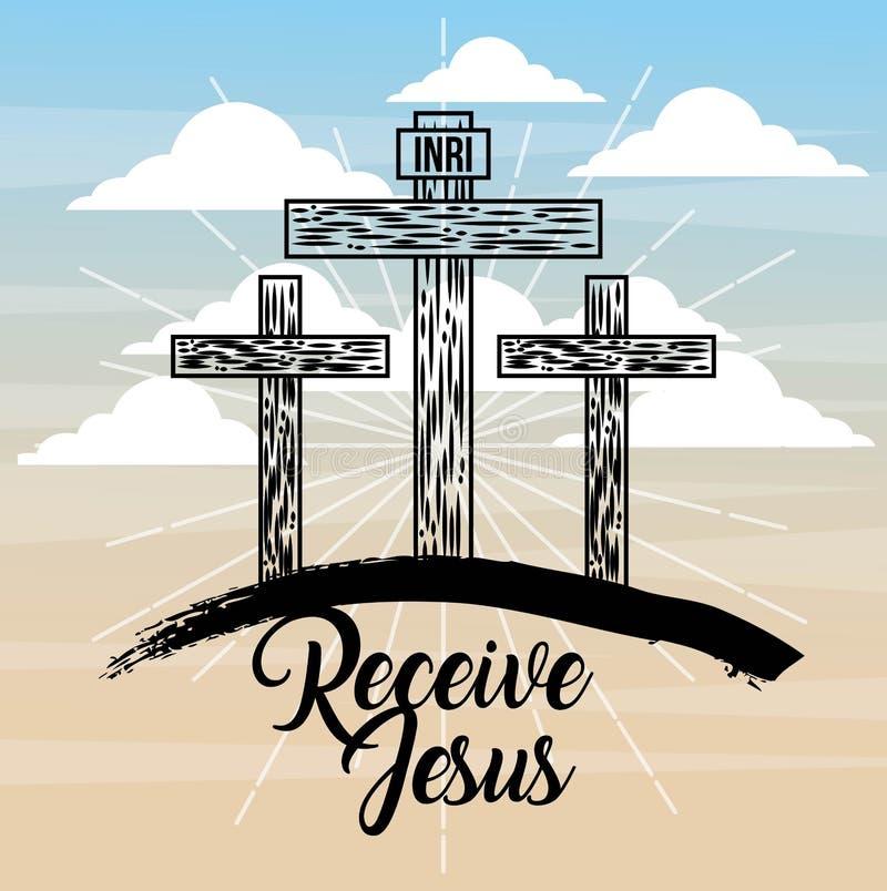 Motta katolicism för jesus tre arg himmelljus vektor illustrationer