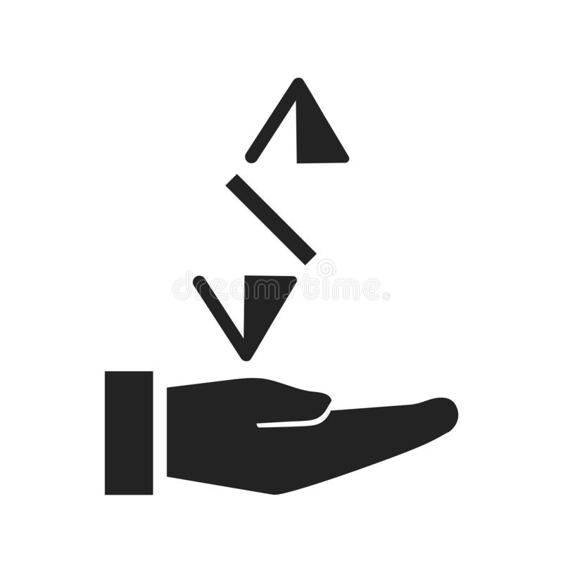 Motta symbolsvektortecknet, och symbolet som isoleras på vit bakgrund, mottar logobegrepp stock illustrationer