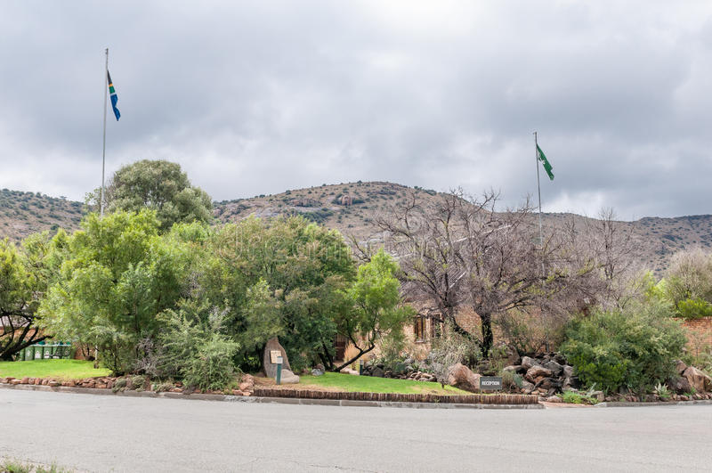 Mottagandekontor i nationalparken för bergsebra fotografering för bildbyråer