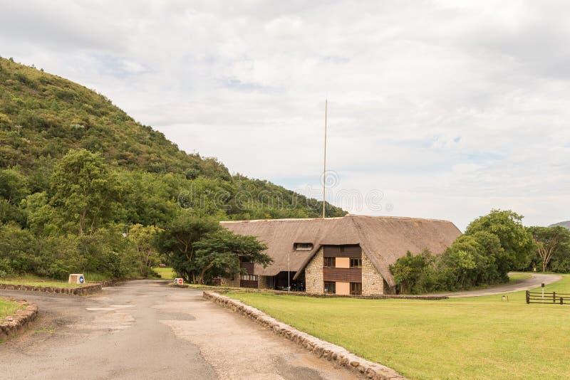 Mottagandekontor och shoppar i den kungliga Natal National Park royaltyfria bilder