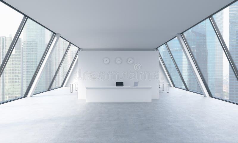 Mottagandeområde med klockor och arbetsplatser i ett ljust modernt öppet utrymmevindkontor royaltyfri illustrationer