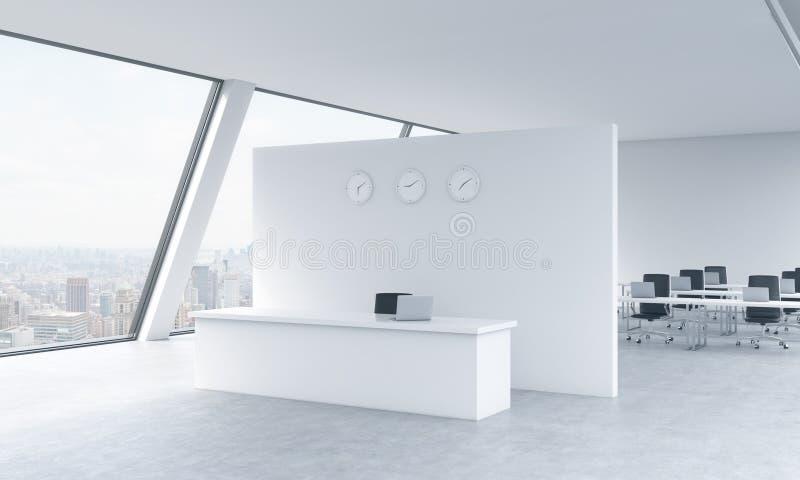 Mottagandeområde med klockor och arbetsplatser i ett ljust modernt öppet utrymmevindkontor Vit bordlägger New York panoramautsikt stock illustrationer