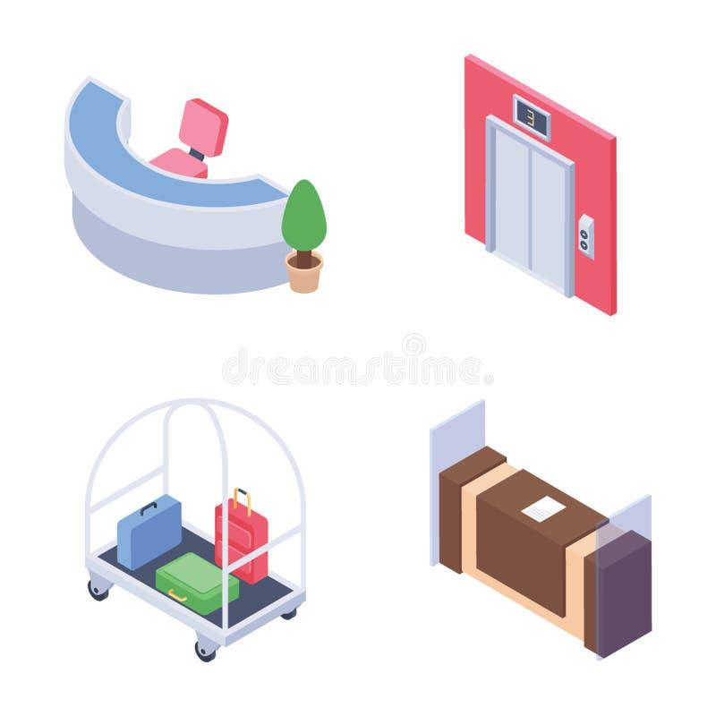 Mottagandepersonalen och isometriska symboler för hushållning packar royaltyfri illustrationer