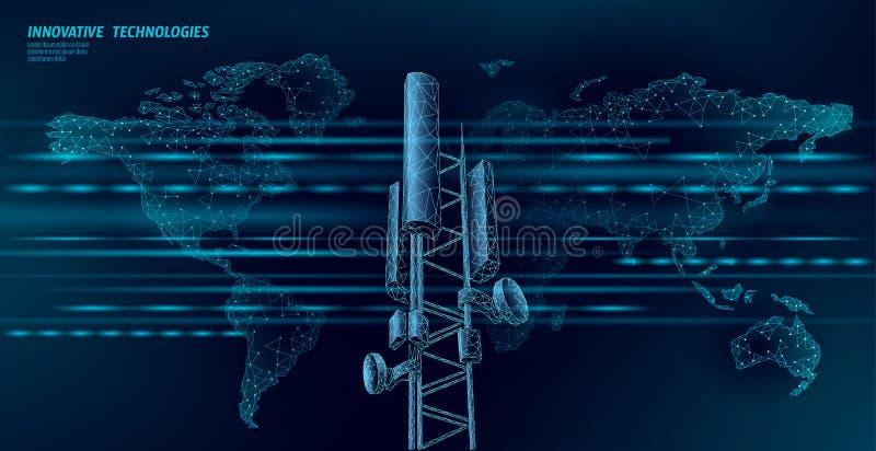 mottagare f?r station f?r grund 3d sändare för information om anslutning för polygonal design för telekommunikationtorn 4g global royaltyfri illustrationer