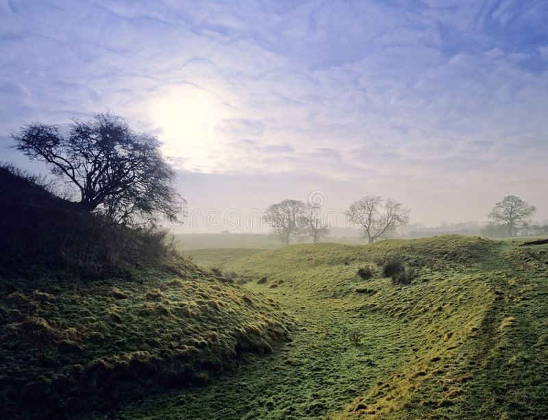 Motte and bailey castle royalty free stock photography
