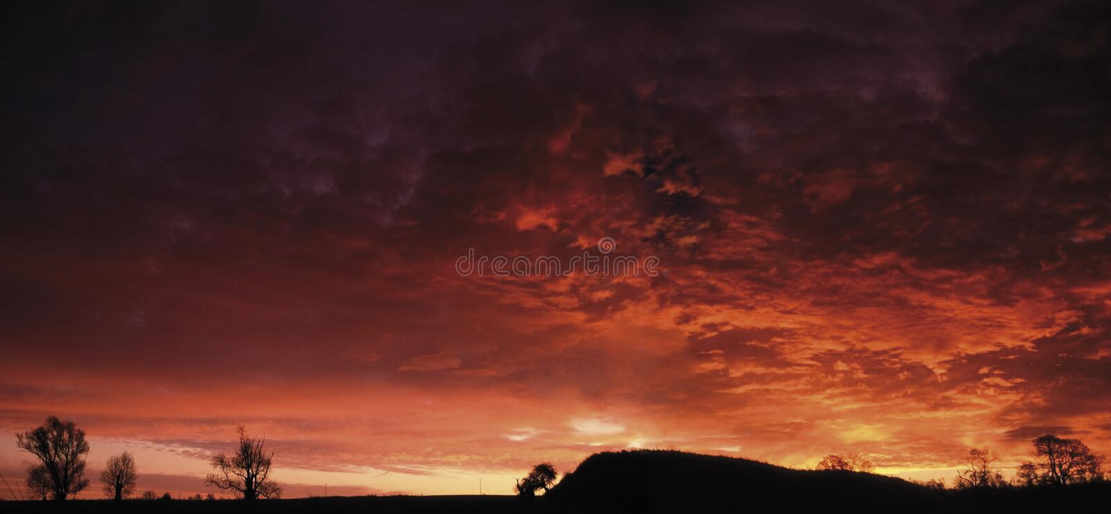 Motte and bailey Castle at sunrise stock photos