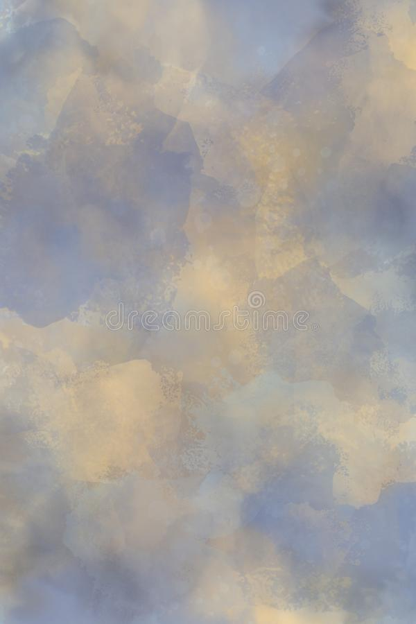 Mottled Yellow Blue Background Texture. This mottled blue and yellow background is reminiscent of warm clouds in a blue sky stock image