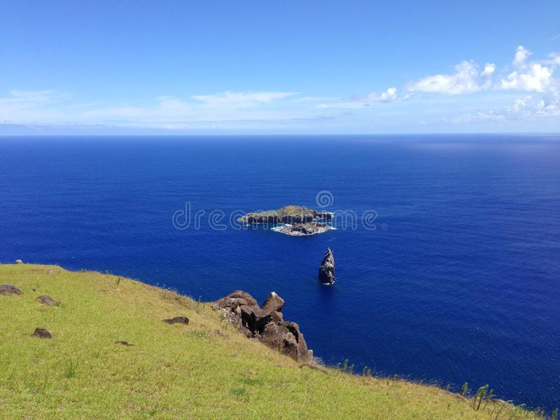 Motu Iti and Motu Nui. Island in front of the Easter Island, Rapa Nui stock photos