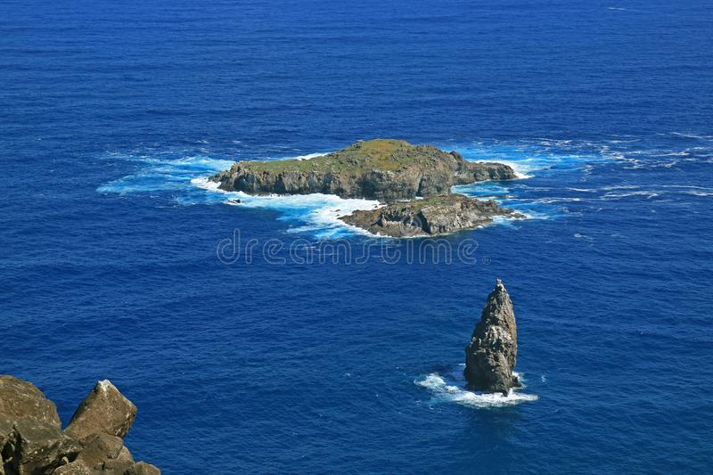 Motu Nui Island, with the Smaller Motu Iti Island and the Motu Kao Kao Sea Stack View from Orongo Village on Easter Island, Chile. South America royalty free stock photography