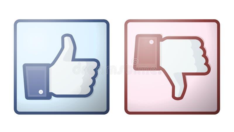 motviljafacebook like upp teckentumen royaltyfri illustrationer