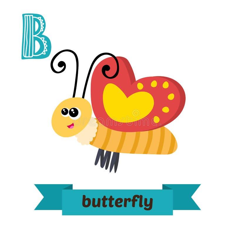 Motyl B list Ślicznych dzieci zwierzęcy abecadło w wektorze Fu ilustracja wektor