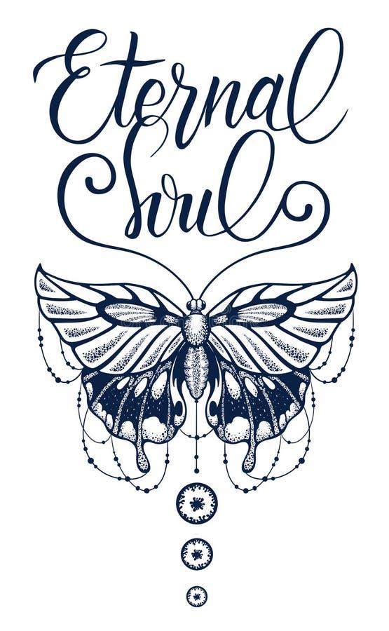 Motyl dekorował z pasemkami koraliki, eleganckiej kaligrafii Wiecznie dusza ilustracji