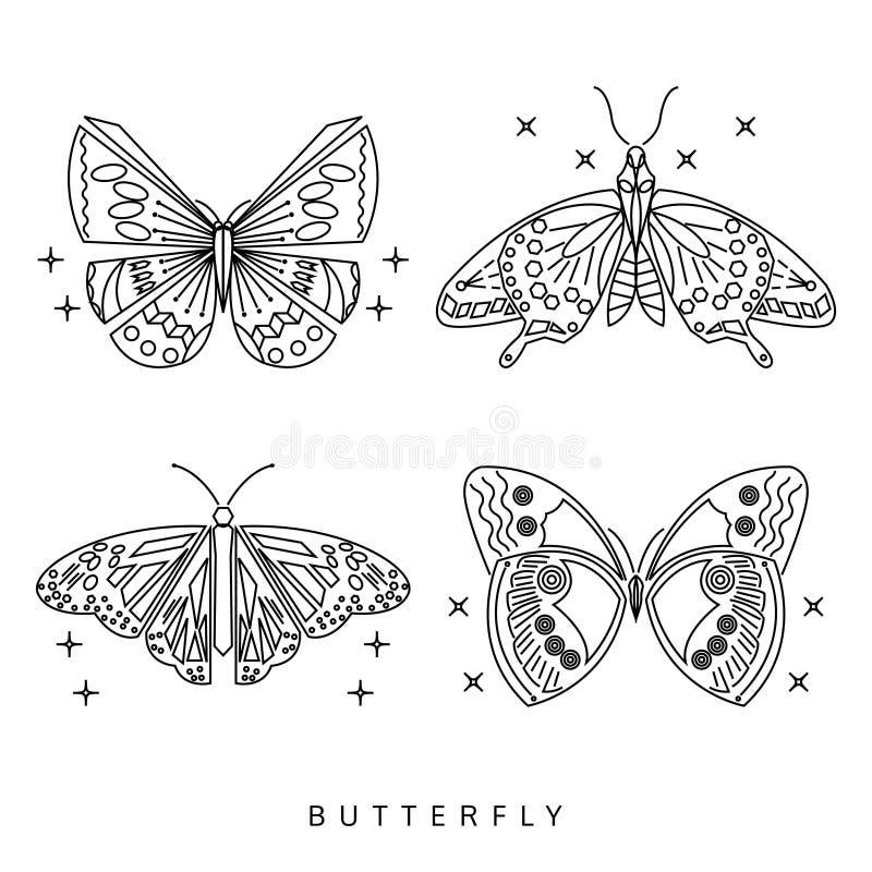 Motyl ikony kreskowy set, loga wektor, odizolowywający na białym backgrou ilustracja wektor