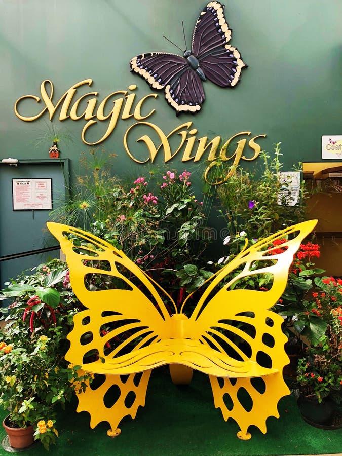 Motyl kształtująca krzesło statua na wal zdjęcia royalty free