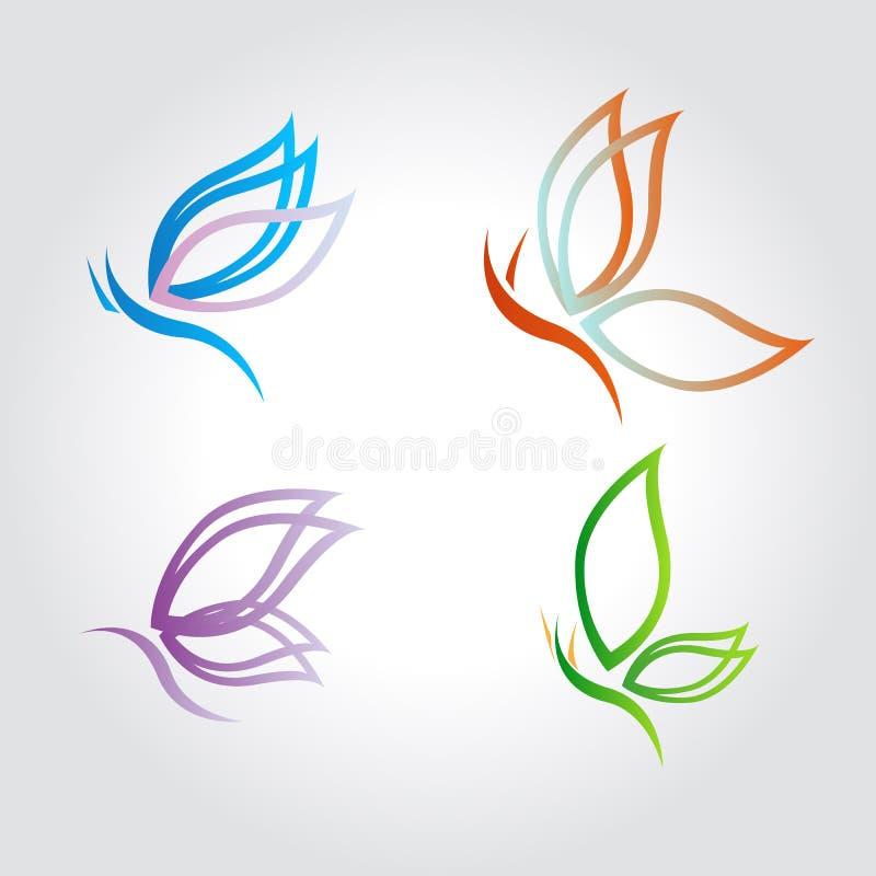 Motyl, logo, piękno, skrzydła, set, wektorowe ilustracje ilustracji