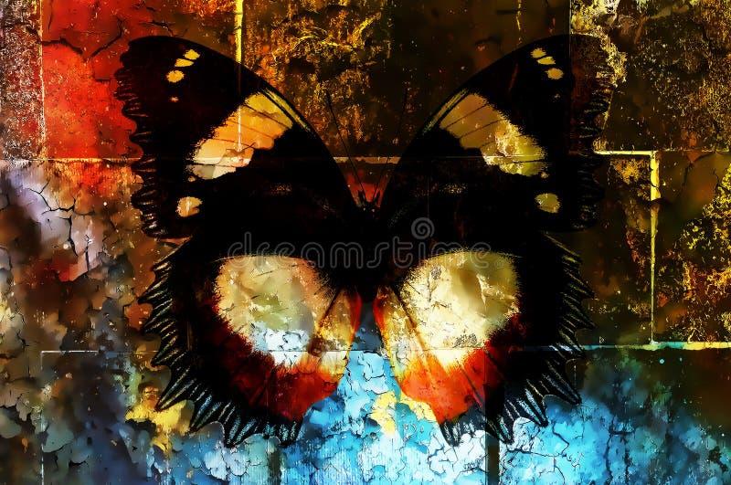 Motyl na trzaskającej ściennej teksturze, koloru chrupotu tło, komputerowa grafika ilustracji