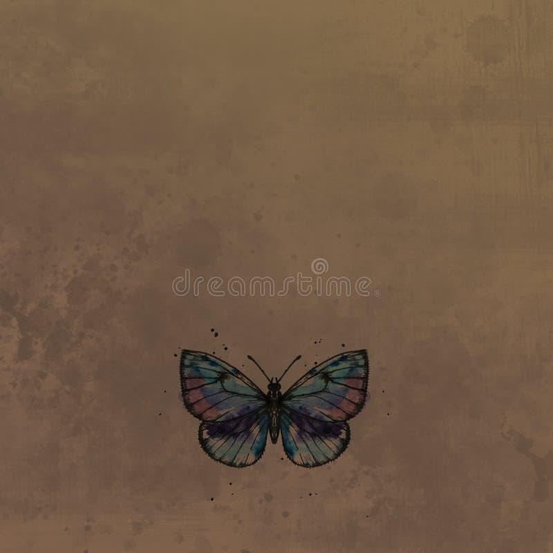 Motyl w akwareli przy rocznika tłem royalty ilustracja