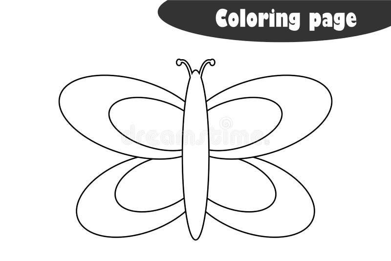 Motyl w kreskówka stylu, barwi stronę, wiosny edukacji papieru gra dla rozwoju dzieci, żartuje preschool aktywność, ilustracji