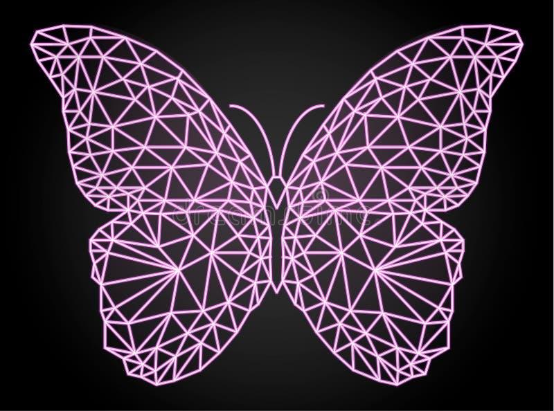 Motyl z neonowym wektorowym skutkiem, niski poli- projekt zdjęcia stock
