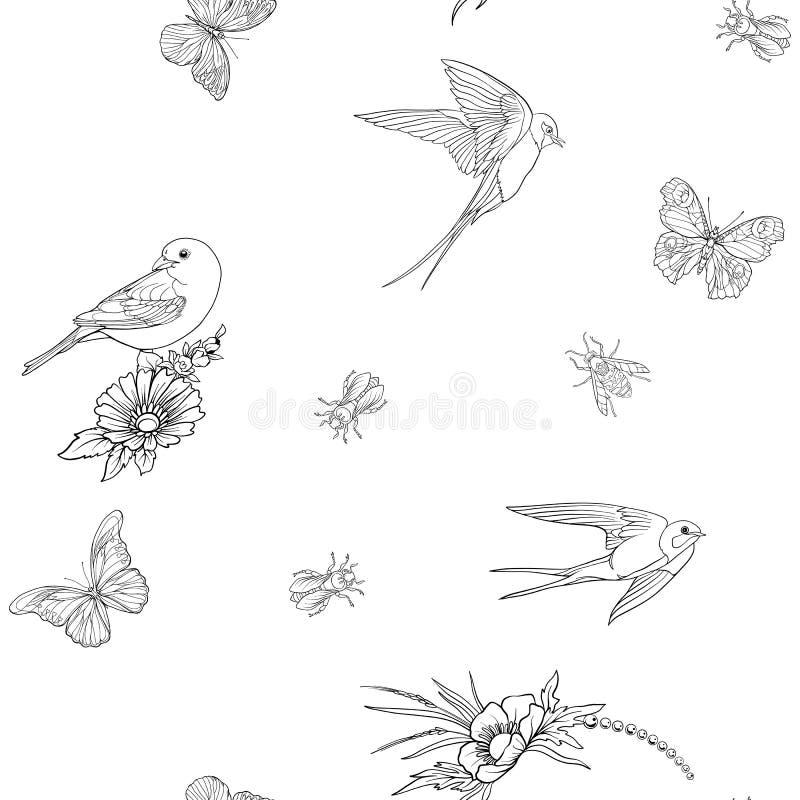 motyla bezszwowy kwiecisty deseniowy ilustracja wektor