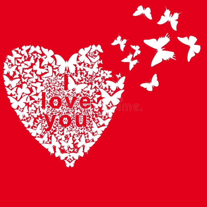 Motyla fałdowy serce na czerwonym tle ilustracja wektor