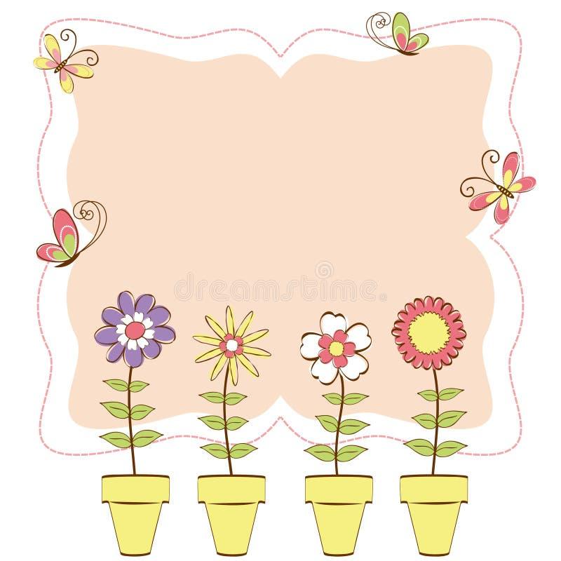 motyla karciana kolorowa kwiecista powitania wiosna ilustracja wektor