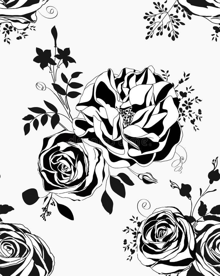 motyla opadowy kwiecisty kwiatów serca wzoru kolor żółty Czarny i biały róże i peonie royalty ilustracja