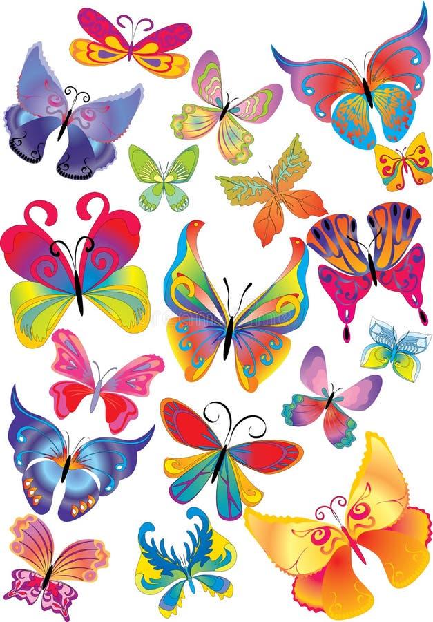 Download Motyla stubarwny różny ilustracja wektor. Ilustracja złożonej z dekoracyjny - 13333507
