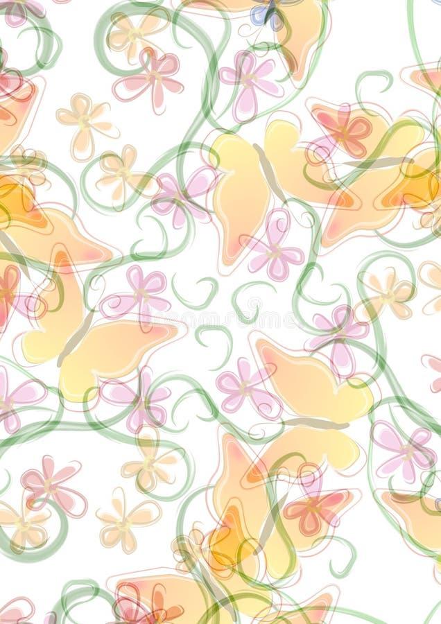 motyla tła kwiaty royalty ilustracja